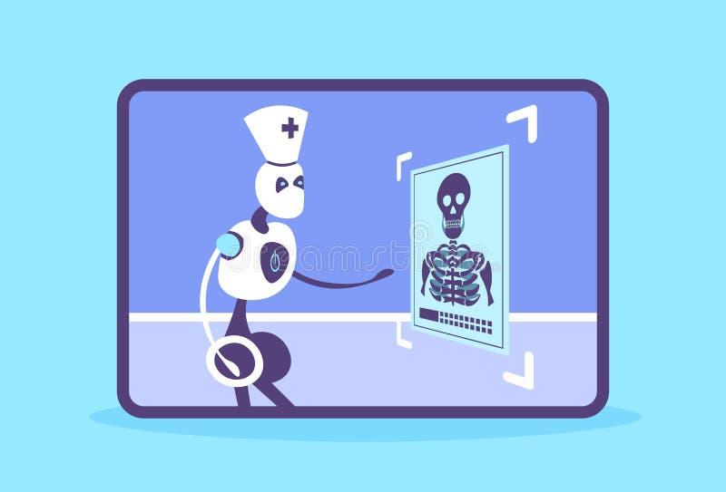 Γιατρός ρομπότ Humanoid που εξετάζει την των ακτίνων X φωτογραφία cyborg ιατρική που αναγνωρίζει την υπομονετική ακτινογραφιών τε διανυσματική απεικόνιση