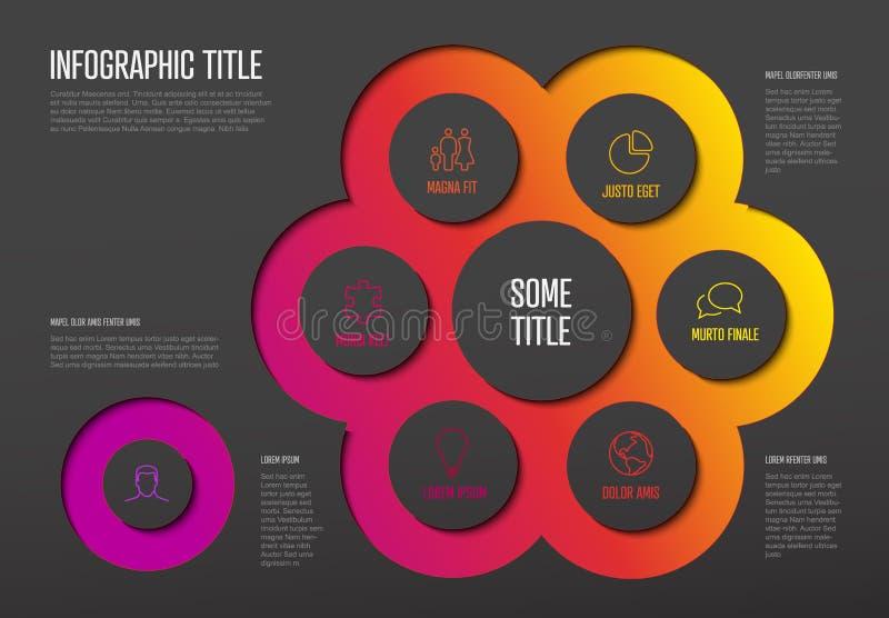 Για πολλές χρήσεις πρότυπο Infographic με έξι στοιχεία διανυσματική απεικόνιση