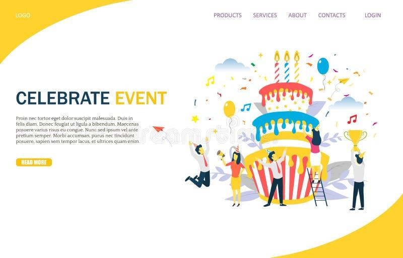 Γιορτάστε γεγονότος το διανυσματικό πρότυπο σχεδίου σελίδων ιστοχώρου προσγειωμένος διανυσματική απεικόνιση