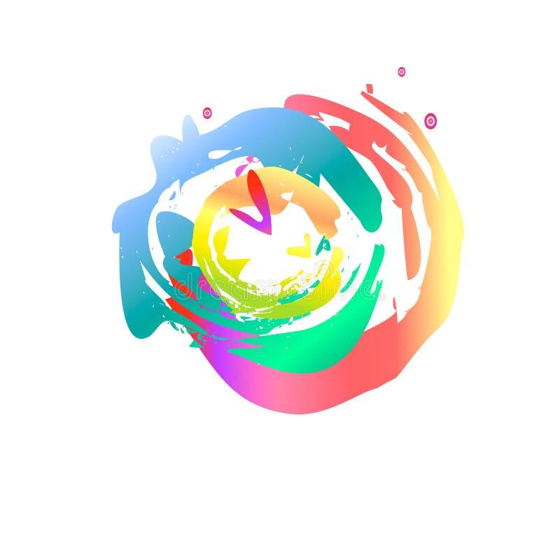 Γιορτή του festveval μουσικού χρωματισμένου έμβλημα σημείου holi χρωμάτων διανυσματική απεικόνιση