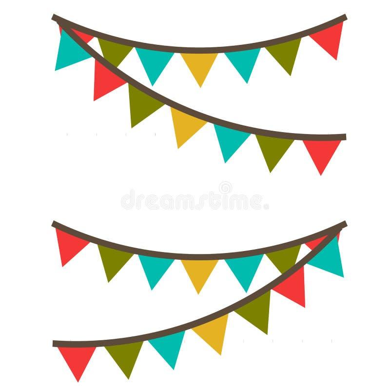 Γιρλάντα καρναβαλιού με τις σημαίες Διακοσμητικές ζωηρόχρωμες σημαίες κομμάτων για τον εορτασμό γενεθλίων απεικόνιση αποθεμάτων