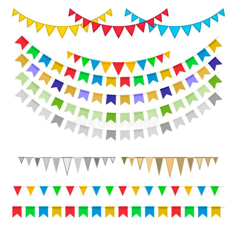 Γιρλάντες καρναβαλιού με τις σημαίες απεικόνιση αποθεμάτων