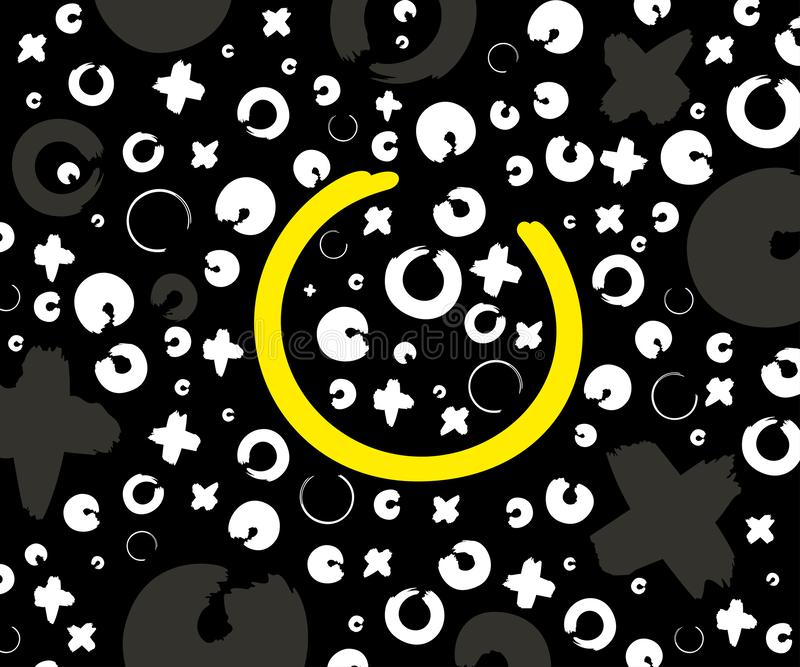 Γκρίζα, άσπρα και κίτρινα σχέδιο, Χ και ο στο Μαύρο απεικόνιση αποθεμάτων