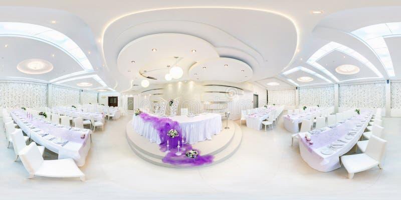 ΓΚΡΟΝΤΝΟ, ΛΕΥΚΟΡΩΣΙΑ - 29 ΜΑΐΟΥ 2012: Πανόραμα στο εσωτερικό στην άσπρη αίθουσα συμποσίου Πλήρες άνευ ραφής πανόραμα 360 βαθμού σ στοκ φωτογραφία