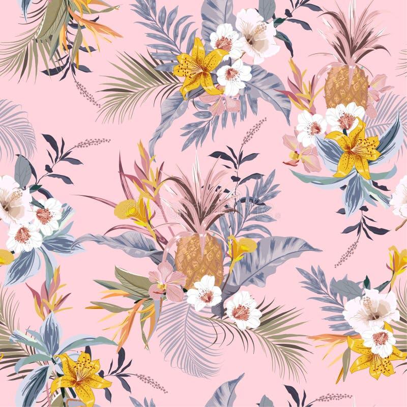 Γλυκό εκλεκτής ποιότητας πουλί λουλουδιών κρητιδογραφιών τροπικό δασικό εξωτικό ζωηρόχρωμο του παραδείσου, hibiscus, κρίνος, άνευ ελεύθερη απεικόνιση δικαιώματος