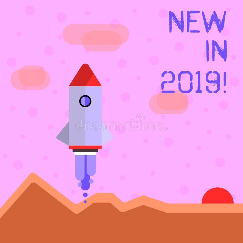 Γράψιμο κειμένων γραφής νέο το 2019 Έννοια που σημαίνει το επερχόμενο ψήφισμα έτους που διαφημίζει το νέο προϊόν Specs ελεύθερη απεικόνιση δικαιώματος