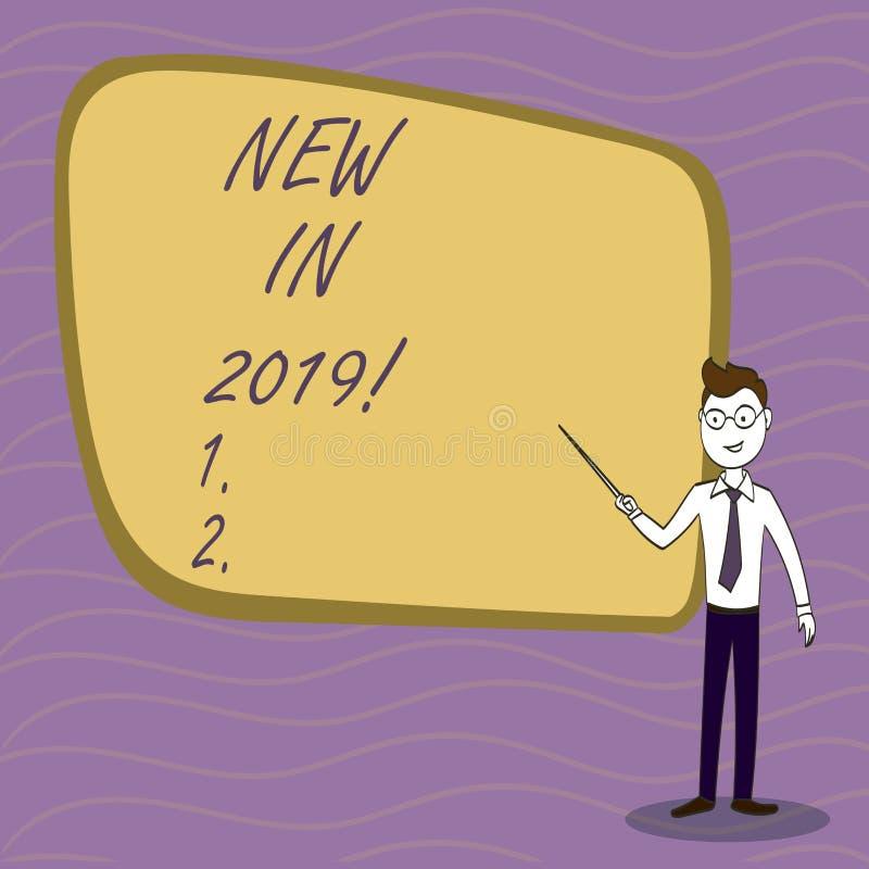 Γράψιμο κειμένων γραφής νέο το 2019 Έννοια που σημαίνει το επερχόμενο ψήφισμα έτους που διαφημίζει το νέο προϊόν Specs διανυσματική απεικόνιση