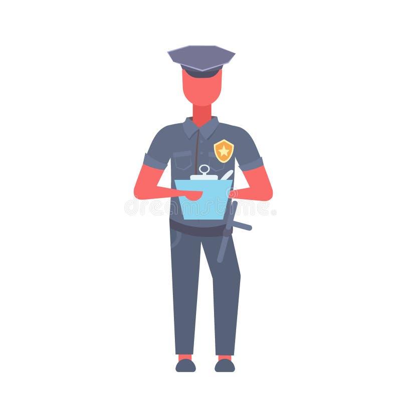 Γράφοντας άτομο εκθέσεων αστυνομικών που φορά τη σπόλα ομοιόμορφος αστυνομικός αρσενικός χαρακτήρας κινουμένων σχεδίων πλήρες μήκ διανυσματική απεικόνιση