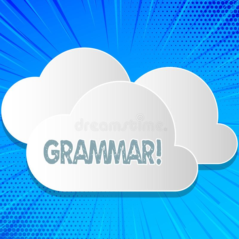 Γραμματική κειμένων γραψίματος λέξης Επιχειρησιακή έννοια για το σύστημα και τη δομή κανόνων ενός γλωσσικού των σωστών κατάλληλων διανυσματική απεικόνιση