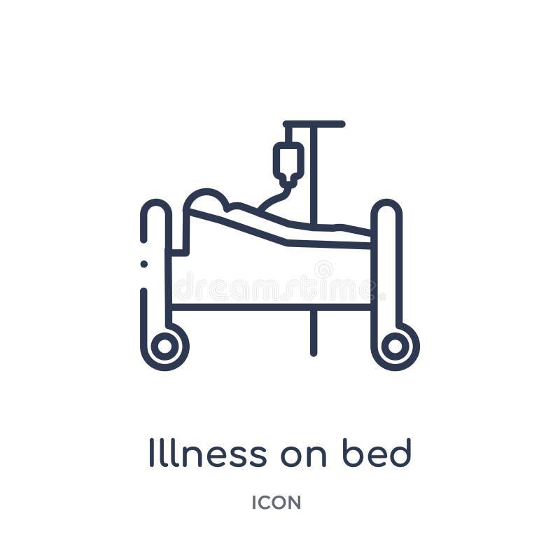 Γραμμική ασθένεια στο εικονίδιο κρεβατιών από την ιατρική συλλογή περιλήψεων Λεπτή ασθένεια γραμμών στο εικονίδιο κρεβατιών που α διανυσματική απεικόνιση