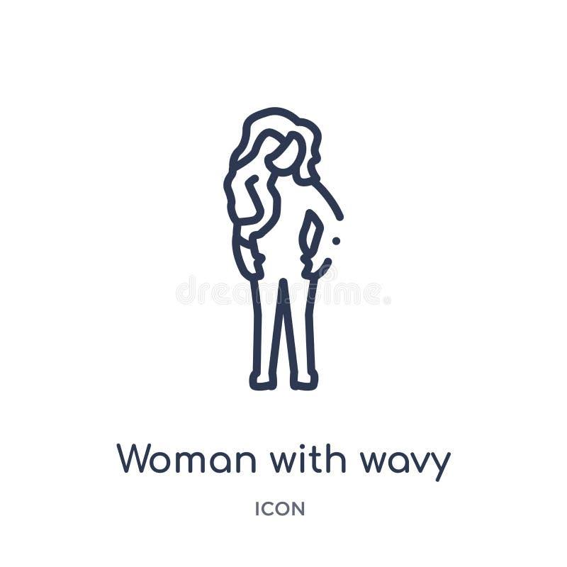 Γραμμική γυναίκα με το κυματιστό εικονίδιο τρίχας από τη συλλογή γυναικείων περιλήψεων Λεπτή γυναίκα γραμμών με το κυματιστό εικο διανυσματική απεικόνιση