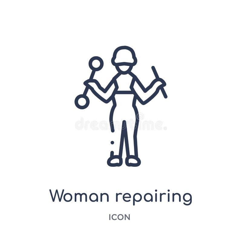 Γραμμική γυναίκα που επισκευάζει το εικονίδιο από τη συλλογή γυναικείων περιλήψεων Λεπτή γυναίκα γραμμών που επισκευάζει το εικον απεικόνιση αποθεμάτων