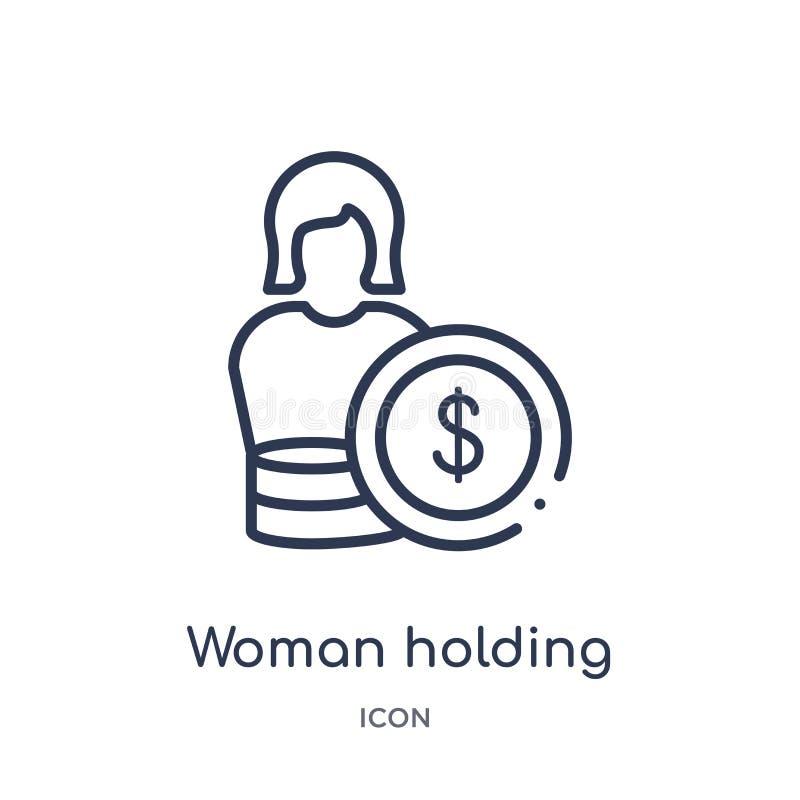 Γραμμική γυναίκα που κρατά το μεγάλο εικονίδιο νομισμάτων από τη συλλογή επιχειρησιακών περιλήψεων Λεπτή γυναίκα γραμμών που κρατ διανυσματική απεικόνιση