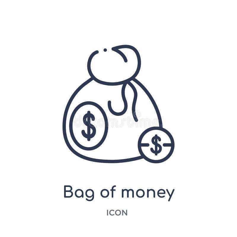 Γραμμική τσάντα των χρημάτων με το εικονίδιο δολαρίων από τη συλλογή περιλήψεων εμπορίου Λεπτή τσάντα γραμμών των χρημάτων με το  ελεύθερη απεικόνιση δικαιώματος