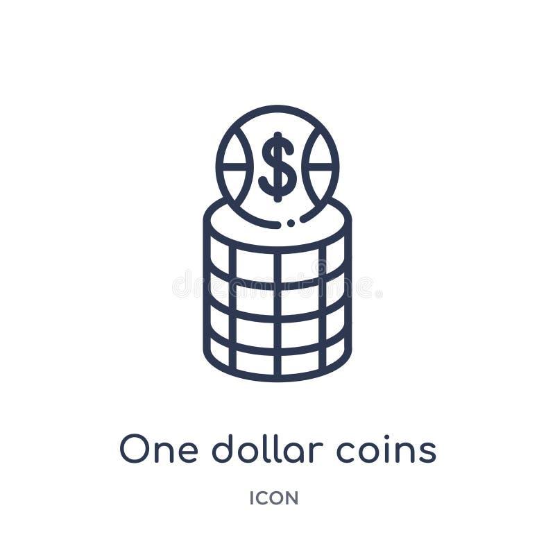 Γραμμικός εικονίδιο νομισμάτων δολαρίων από τη συλλογή επιχειρησιακών περιλήψεων Λεπτή γραμμή εικονίδιο νομισμάτων ενός δολαρίου  διανυσματική απεικόνιση