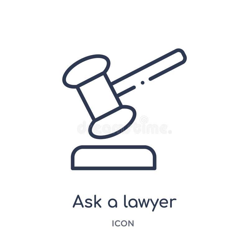Γραμμικός ρωτήστε ένα εικονίδιο δικηγόρων από τη συλλογή περιλήψεων νόμου και δικαιοσύνης Η λεπτή γραμμή ρωτά ένα εικονίδιο δικηγ ελεύθερη απεικόνιση δικαιώματος