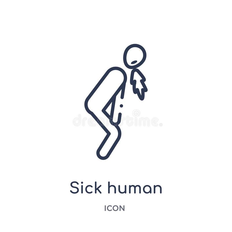 Γραμμικό άρρωστο ανθρώπινο εικονίδιο από τη συλλογή περιλήψεων συναισθημάτων Λεπτό άρρωστο ανθρώπινο διάνυσμα γραμμών που απομονώ διανυσματική απεικόνιση