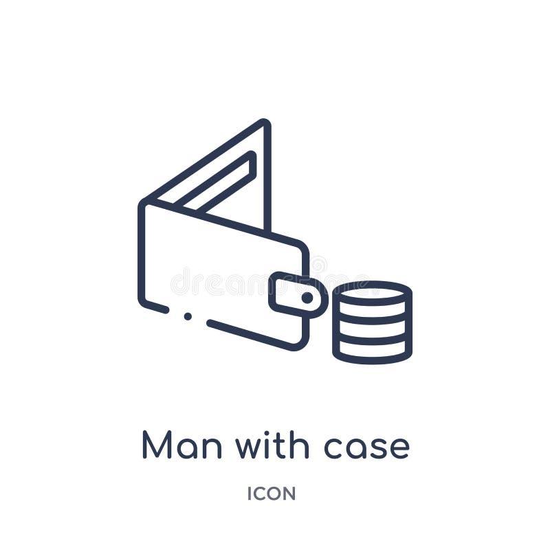 Γραμμικό άτομο με την περίπτωση με το εικονίδιο δολαρίων από τη συλλογή επιχειρησιακών περιλήψεων Λεπτό άτομο γραμμών με την περί απεικόνιση αποθεμάτων