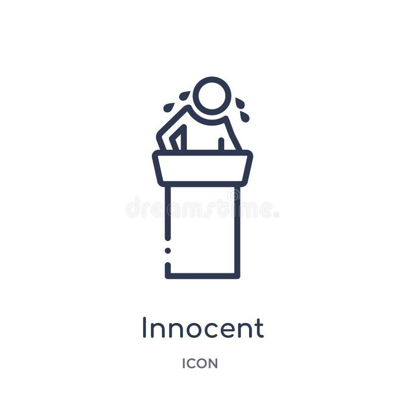 Γραμμικό αθώο εικονίδιο από τη συλλογή περιλήψεων νόμου και δικαιοσύνης Λεπτό αθώο εικονίδιο γραμμών που απομονώνεται στο άσπρο υ διανυσματική απεικόνιση