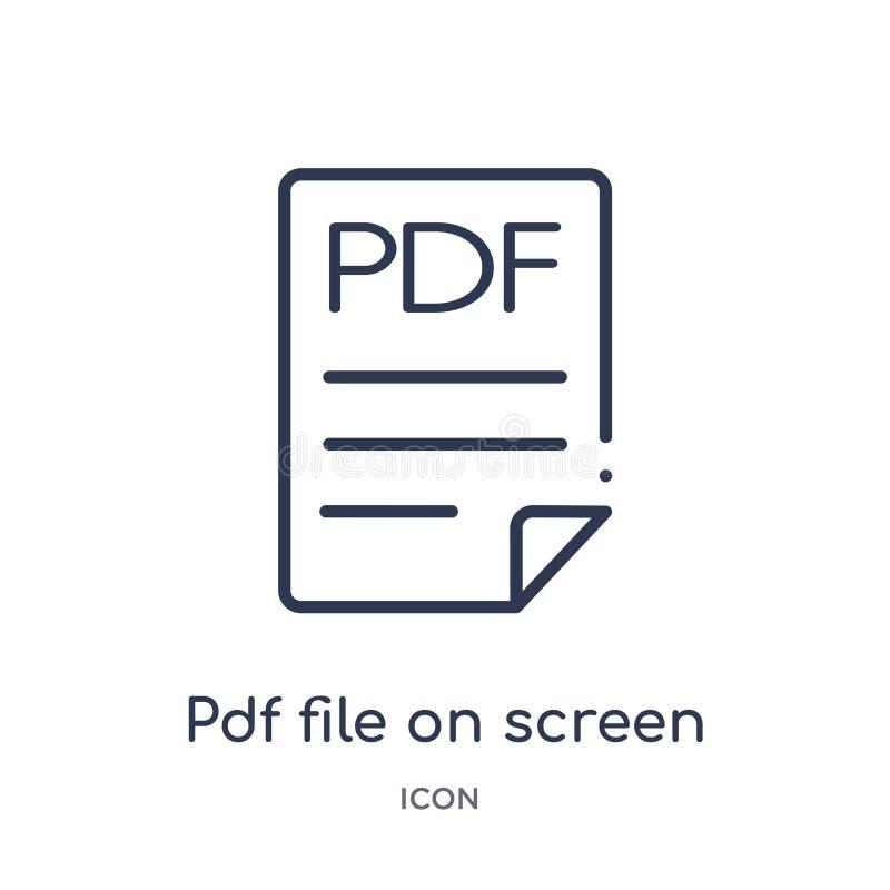 Γραμμικό αρχείο pdf στο εικονίδιο οθόνης από τη συλλογή περιλήψεων εκπαίδευσης Λεπτό αρχείο γραμμών pdf στο εικονίδιο οθόνης που  ελεύθερη απεικόνιση δικαιώματος