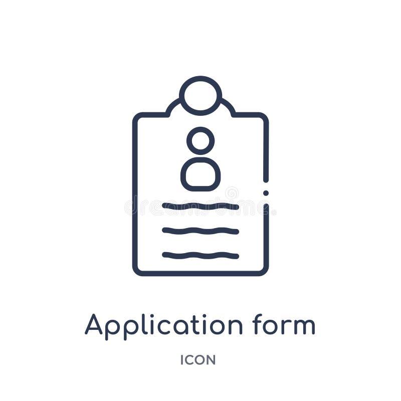 Γραμμικό εικονίδιο αίτησης υποψηφιότητας από τη συλλογή περιλήψεων εκπαίδευσης Λεπτό διάνυσμα αίτησης υποψηφιότητας γραμμών που α διανυσματική απεικόνιση