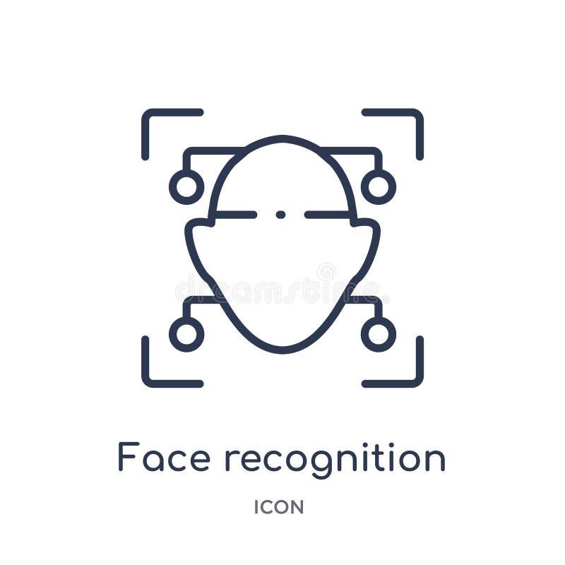 Γραμμικό εικονίδιο αναγνώρισης προσώπου από το τεχνητό intellegence και τη μελλοντική συλλογή περιλήψεων τεχνολογίας Λεπτή αναγνώ απεικόνιση αποθεμάτων