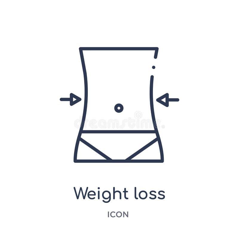 Γραμμικό εικονίδιο απώλειας βάρους από τη γενική συλλογή περιλήψεων Λεπτό εικονίδιο απώλειας βάρους γραμμών που απομονώνεται στο  διανυσματική απεικόνιση