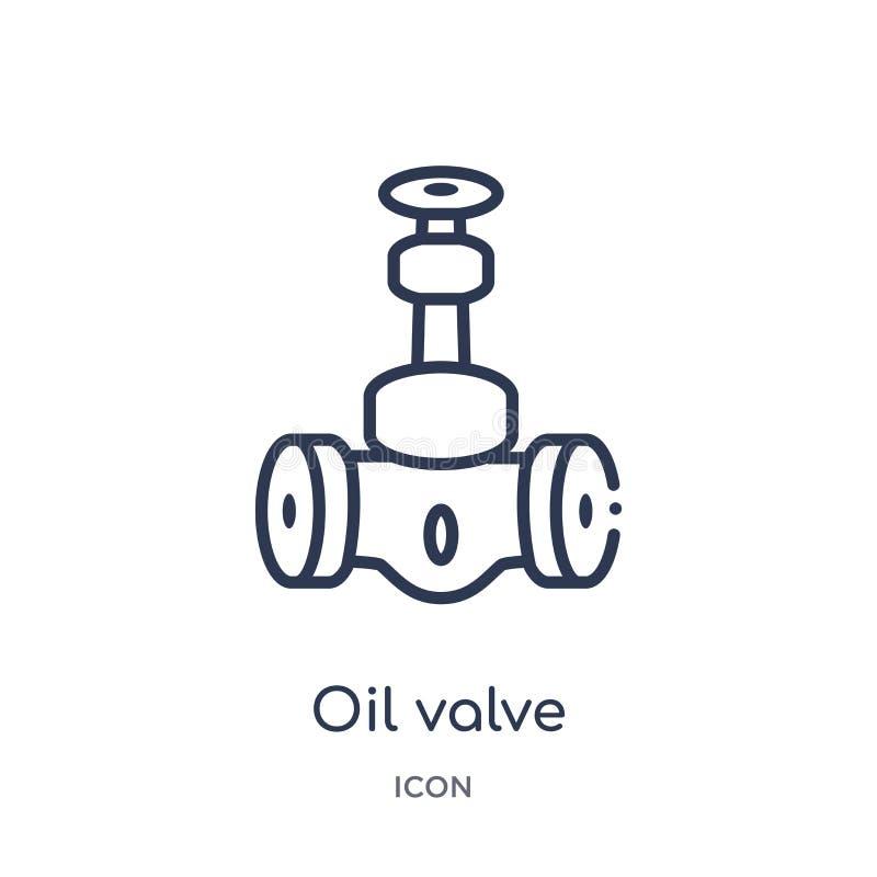Γραμμικό εικονίδιο βαλβίδων πετρελαίου από τη συλλογή περιλήψεων βιομηχανίας Λεπτό εικονίδιο βαλβίδων πετρελαίου γραμμών που απομ διανυσματική απεικόνιση