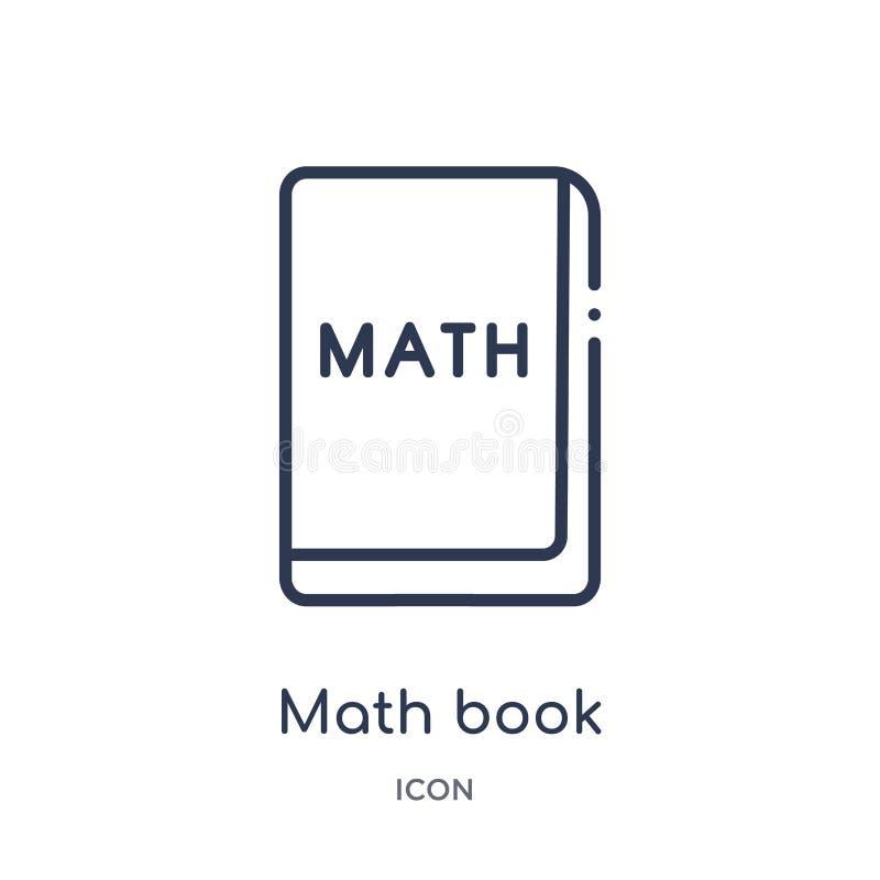 Γραμμικό εικονίδιο βιβλίων math από τη συλλογή περιλήψεων εκπαίδευσης Λεπτό εικονίδιο βιβλίων γραμμών math που απομονώνεται στο ά διανυσματική απεικόνιση