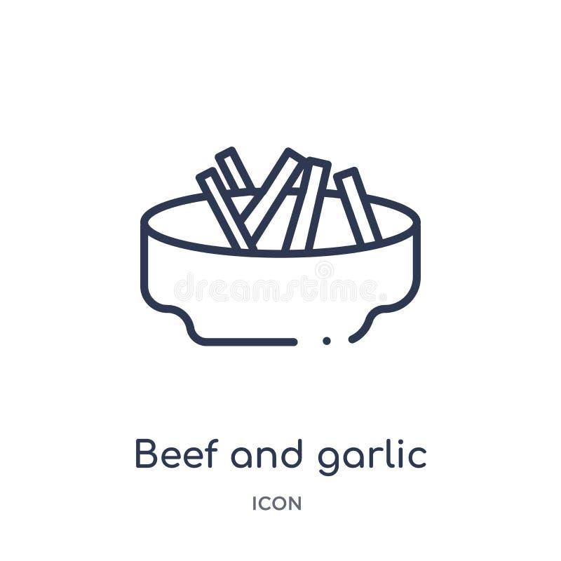 Γραμμικό εικονίδιο βόειου κρέατος και σκόρδου από τη συλλογή περιλήψεων πολιτισμού Λεπτό διάνυσμα βόειου κρέατος και σκόρδου γραμ απεικόνιση αποθεμάτων