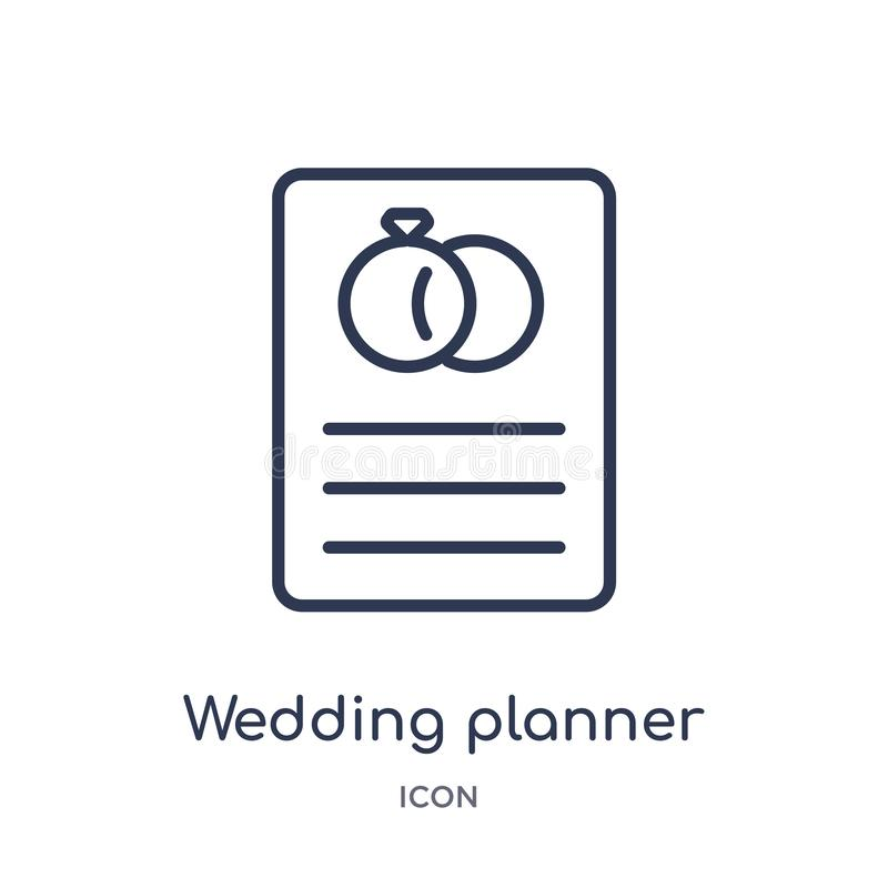 Γραμμικό εικονίδιο γαμήλιων αρμόδιων για το σχεδιασμό από τη συλλογή περιλήψεων γιορτής γενεθλίων Λεπτό διάνυσμα γαμήλιων αρμόδιω διανυσματική απεικόνιση