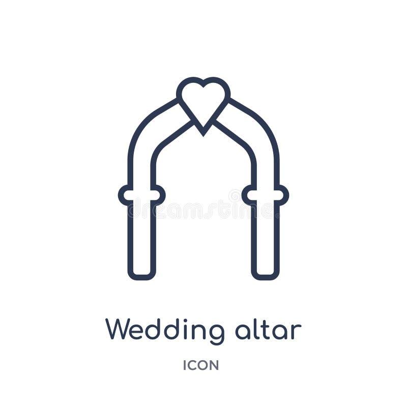 Γραμμικό εικονίδιο γαμήλιων βωμών από τη συλλογή περιλήψεων γιορτής γενεθλίων Λεπτό διάνυσμα γαμήλιων βωμών γραμμών που απομονώνε διανυσματική απεικόνιση