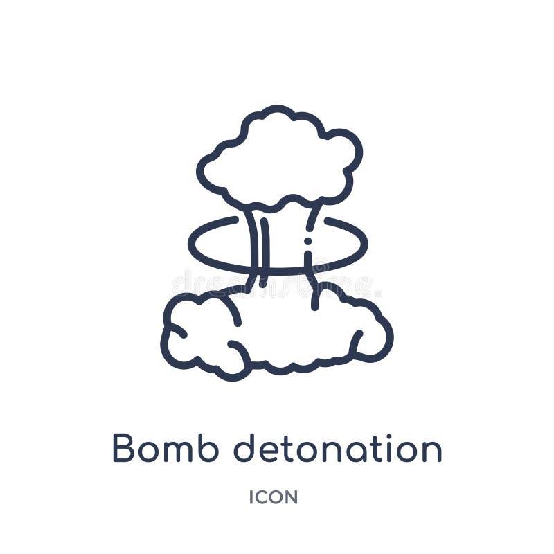 Γραμμικό εικονίδιο εκπυρσοκρότησης βομβών από το στρατό και τη συλλογή πολεμικών περιλήψεων Λεπτό διάνυσμα εκπυρσοκρότησης βομβών ελεύθερη απεικόνιση δικαιώματος