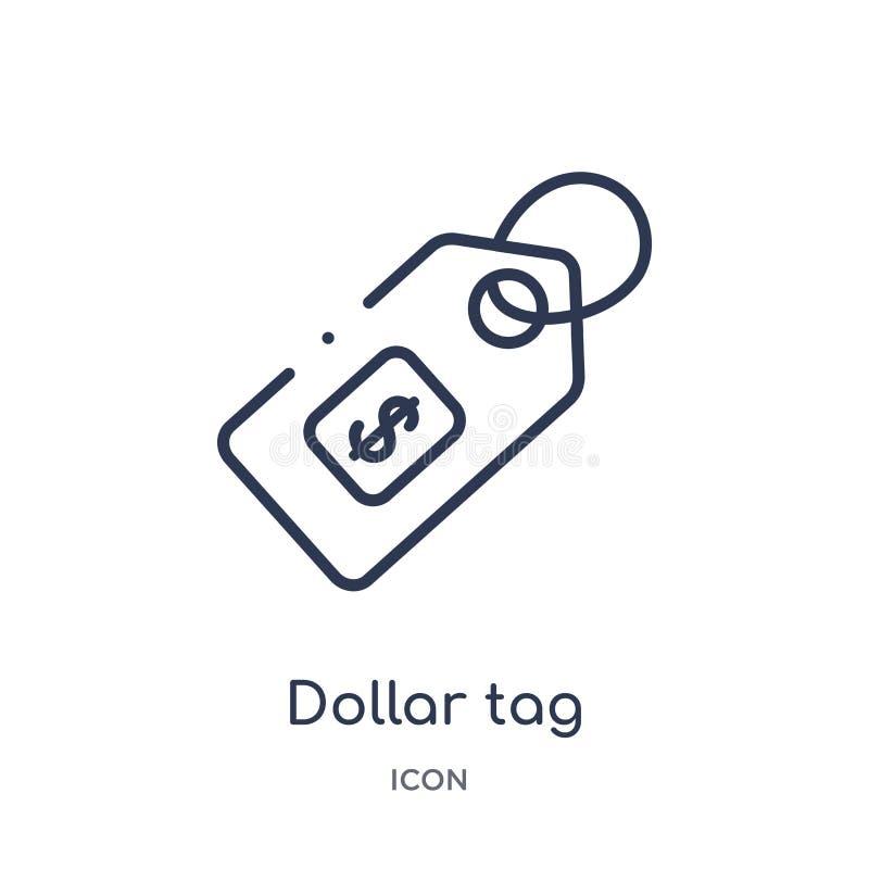 Γραμμικό εικονίδιο ετικεττών δολαρίων από την οικονομία Cryptocurrency και τη συλλογή περιλήψεων χρηματοδότησης Λεπτό διάνυσμα ετ απεικόνιση αποθεμάτων