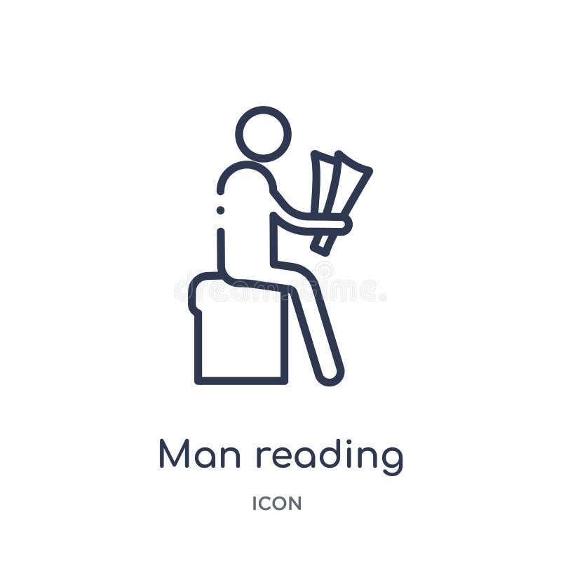 Γραμμικό εικονίδιο εφημερίδων ανάγνωσης ατόμων από τη συλλογή περιλήψεων συμπεριφοράς Λεπτό διάνυσμα εφημερίδων ανάγνωσης ατόμων  απεικόνιση αποθεμάτων