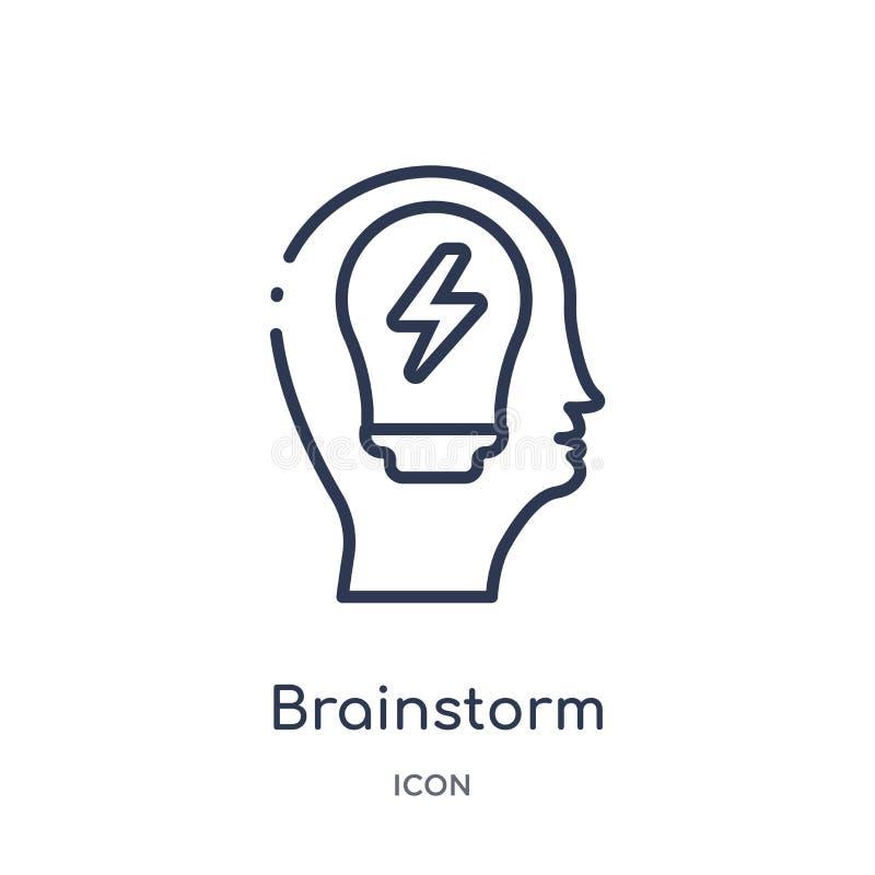 Γραμμικό εικονίδιο καταιγισμού ιδεών από τη συλλογή περιλήψεων διαδικασίας εγκεφάλου Λεπτό διάνυσμα καταιγισμού ιδεών γραμμών που διανυσματική απεικόνιση