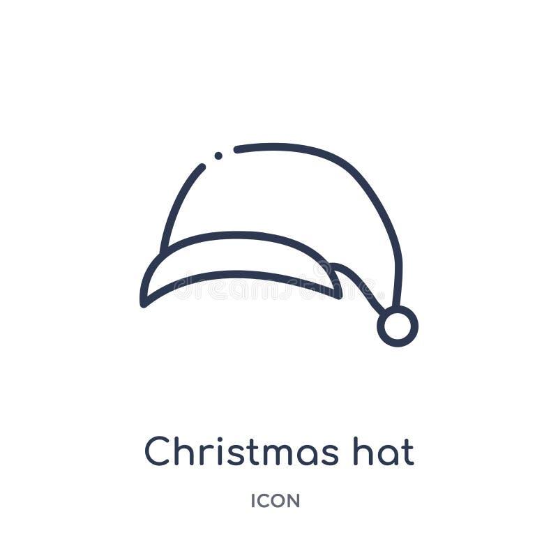 Γραμμικό εικονίδιο καπέλων Χριστουγέννων από τη συλλογή περιλήψεων Χριστουγέννων Λεπτό διάνυσμα καπέλων Χριστουγέννων γραμμών που διανυσματική απεικόνιση