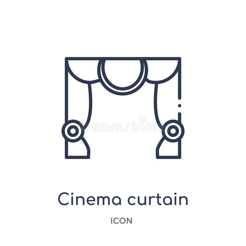 Γραμμικό εικονίδιο κουρτινών κινηματογράφων από τη συλλογή περιλήψεων κινηματογράφων Λεπτό διάνυσμα κουρτινών κινηματογράφων γραμ απεικόνιση αποθεμάτων