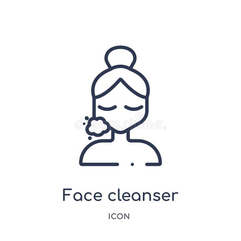 Γραμμικό εικονίδιο μέσων καθαρισμού προσώπου από τη συλλογή περιλήψεων ομορφιάς Λεπτό διάνυσμα μέσων καθαρισμού προσώπου γραμμών  απεικόνιση αποθεμάτων