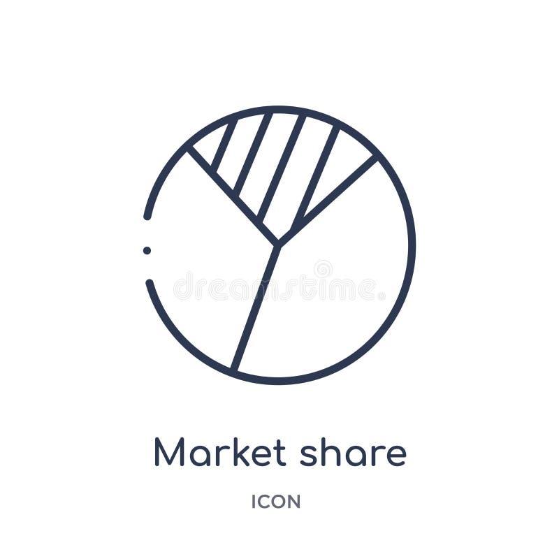 Γραμμικό εικονίδιο μεριδίου αγοράς από τη γενική συλλογή περιλήψεων Λεπτό εικονίδιο μεριδίου αγοράς γραμμών που απομονώνεται στο  διανυσματική απεικόνιση