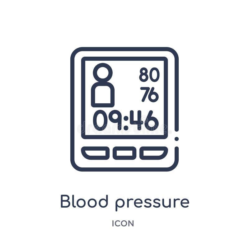 Γραμμικό εικονίδιο μετρητών πίεσης του αίματος από την υγεία και την ιατρική συλλογή περιλήψεων Λεπτό εικονίδιο μετρητών πίεσης τ διανυσματική απεικόνιση
