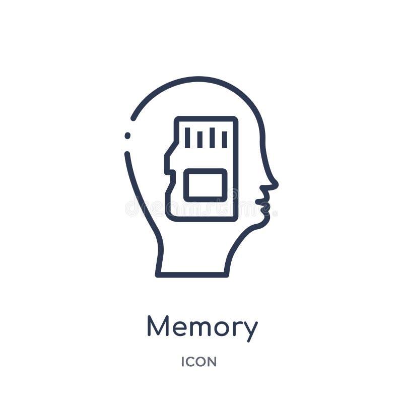 Γραμμικό εικονίδιο μνήμης από τη συλλογή περιλήψεων διαδικασίας εγκεφάλου Λεπτό διάνυσμα μνήμης γραμμών που απομονώνεται στο άσπρ διανυσματική απεικόνιση