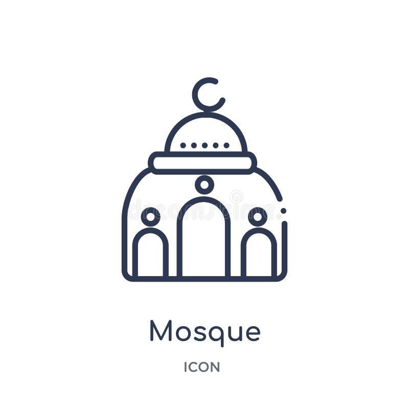Γραμμικό εικονίδιο μουσουλμανικών τεμενών από τη συλλογή περιλήψεων ερήμων Λεπτό διάνυσμα μουσουλμανικών τεμενών γραμμών που απομ διανυσματική απεικόνιση