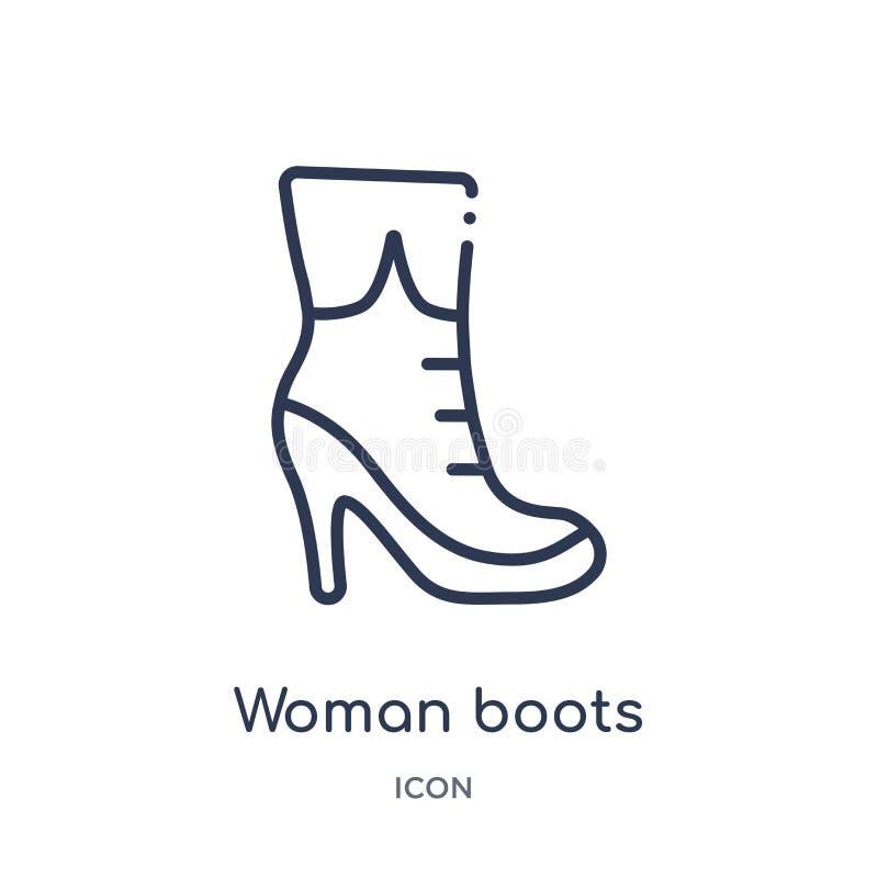 Γραμμικό εικονίδιο μποτών γυναικών από τη συλλογή περιλήψεων μόδας Λεπτό εικονίδιο μποτών γυναικών γραμμών που απομονώνεται στο ά ελεύθερη απεικόνιση δικαιώματος