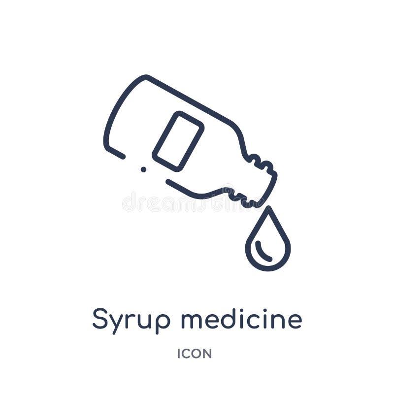 Γραμμικό εικονίδιο μπουκαλιών ιατρικής σιροπιού από την ιατρική συλλογή περιλήψεων Λεπτό εικονίδιο μπουκαλιών ιατρικής σιροπιού γ ελεύθερη απεικόνιση δικαιώματος