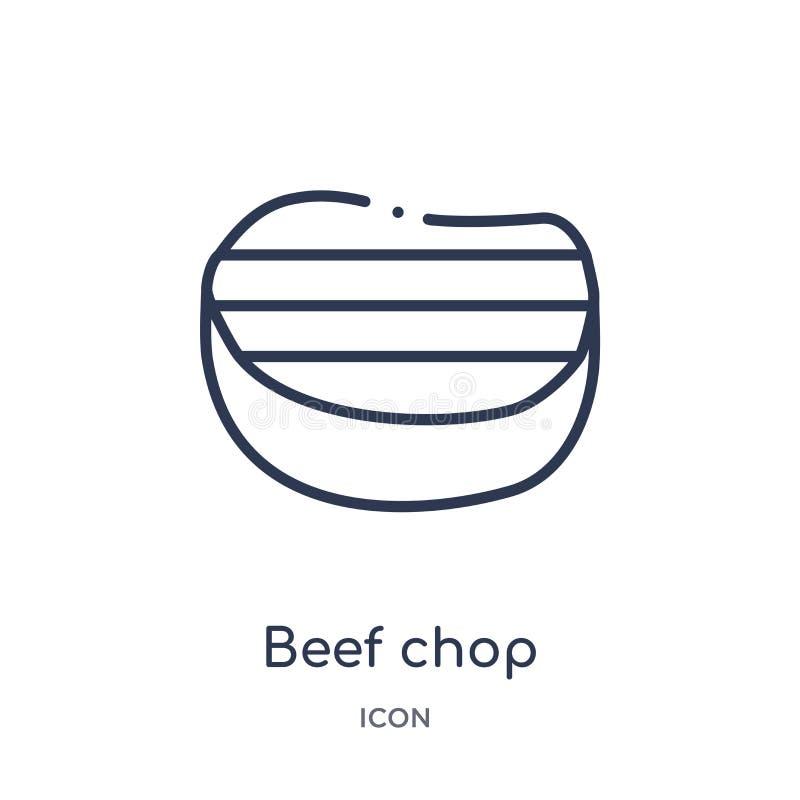 Γραμμικό εικονίδιο μπριζολών βόειου κρέατος από τη συλλογή περιλήψεων Bistro και εστιατορίων Λεπτό διάνυσμα μπριζολών βόειου κρέα διανυσματική απεικόνιση