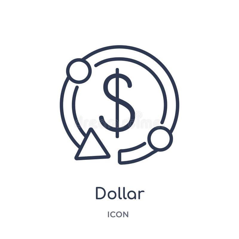 Γραμμικό εικονίδιο δολαρίων από τη συλλογή επιχειρησιακών περιλήψεων Λεπτό εικονίδιο δολαρίων γραμμών που απομονώνεται στο άσπρο  διανυσματική απεικόνιση