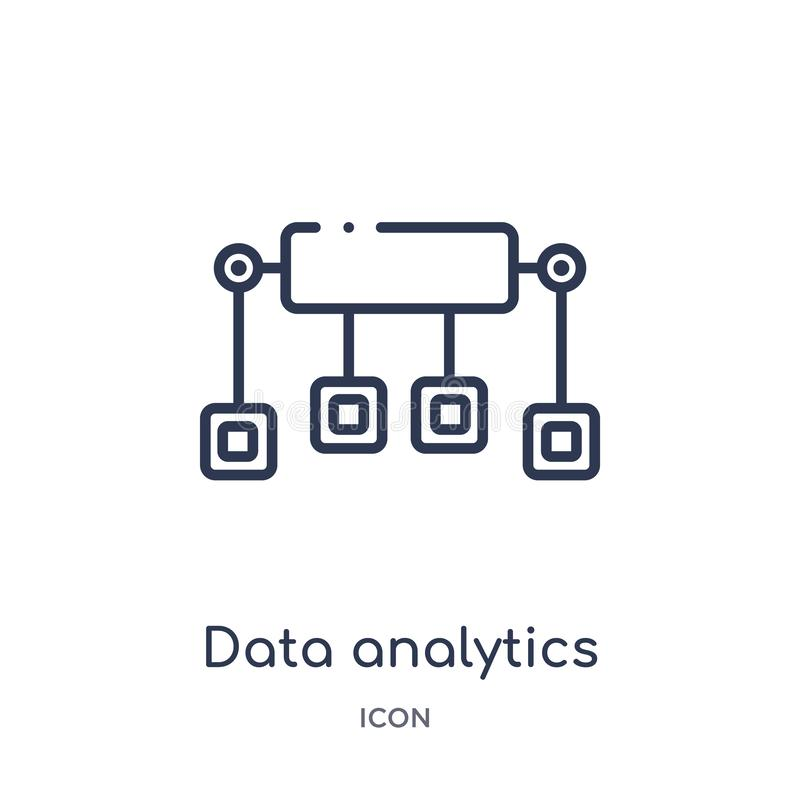 Γραμμικό εικονίδιο ροής analytics στοιχείων από τη συλλογή περιλήψεων επιχειρήσεων και analytics Λεπτό διάνυσμα ροής analytics στ ελεύθερη απεικόνιση δικαιώματος