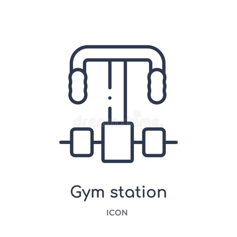 Γραμμικό εικονίδιο σταθμών γυμναστικής από τη συλλογή περιλήψεων εξοπλισμού γυμναστικής Λεπτό εικονίδιο σταθμών γυμναστικής γραμμ ελεύθερη απεικόνιση δικαιώματος
