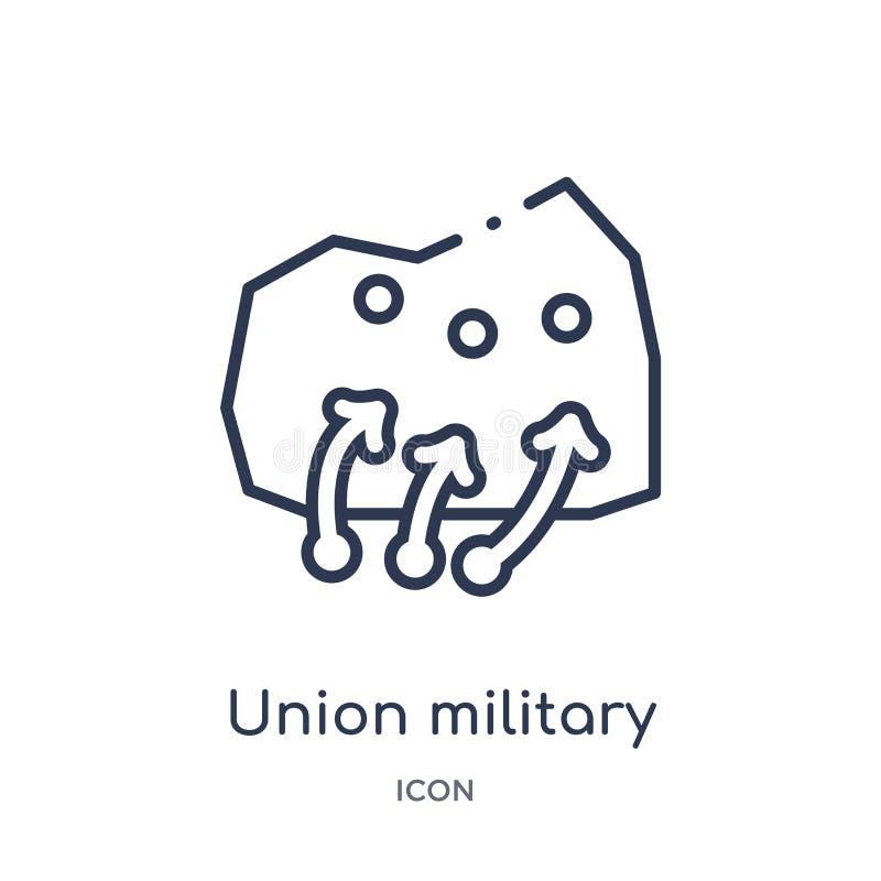Γραμμικό εικονίδιο στρατιωτικής στρατηγικής ένωσης από τη συλλογή περιλήψεων στρατού Λεπτό διάνυσμα στρατιωτικής στρατηγικής ένωσ διανυσματική απεικόνιση